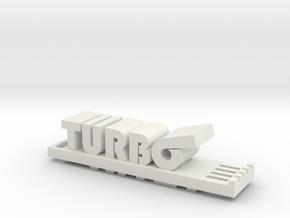 Miata Turbo Keychain in White Natural Versatile Plastic