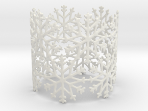 Snowflake Tea Light Ring in White Natural Versatile Plastic