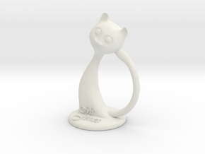 Napkin ring - Male cat  in White Strong & Flexible