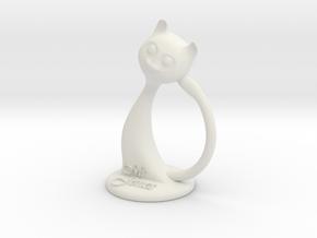 Napkin ring - Male cat  in White Natural Versatile Plastic