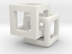 1cm cubes interlaced in White Natural Versatile Plastic
