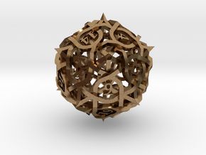 Interwoven Geometric Vines and Thorns D20 in Natural Brass