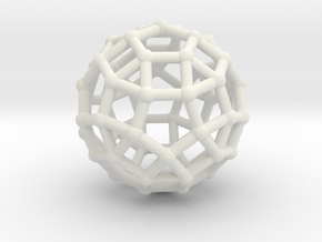 Rhombicosidodecahedron in White Natural Versatile Plastic
