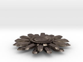 Sunflower Pendant in Polished Bronzed Silver Steel
