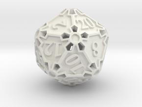 Large Premier d20 in White Natural Versatile Plastic