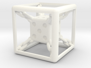Chained die 6-sided in White Processed Versatile Plastic