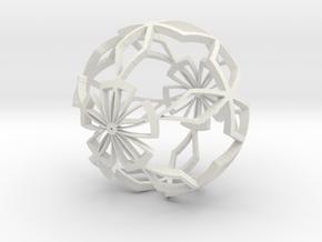 Moroccan Ball 6 in White Natural Versatile Plastic