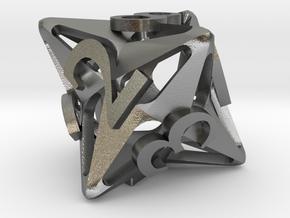 Pinwheel d8 in Natural Silver