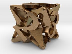 Pinwheel d6 in Natural Brass
