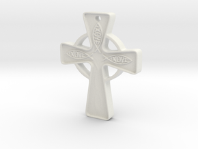 Celtic_Cross approx 1 inch in White Natural Versatile Plastic