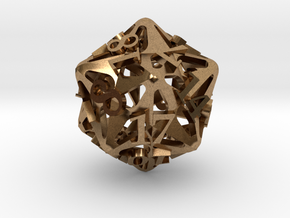 Pinwheel d20 in Natural Brass