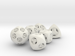 Overstuffed Dice Set in White Natural Versatile Plastic