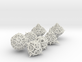 Thorn Dice Set with Decader, 7 Piece Die Set in White Natural Versatile Plastic