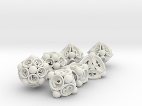 Spore Dice Set with Decader in White Natural Versatile Plastic