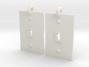 Turned on/off earrings in White Natural Versatile Plastic