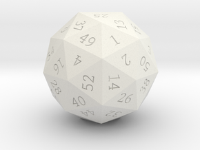 Pentakis Dodecahedral 60-sided die in White Natural Versatile Plastic
