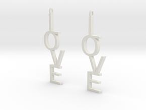 Love Earrings Large  in White Natural Versatile Plastic