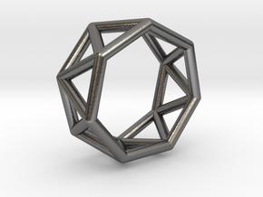 0346 Heptagonal Antiprism E (a=1cm) #001 in Polished Nickel Steel
