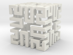 Springy Cube in White Natural Versatile Plastic