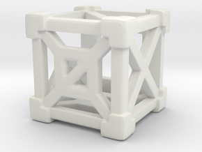 Cage 6-Sided Die - Empty in White Natural Versatile Plastic