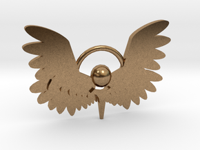 Winged Keychain in Natural Brass