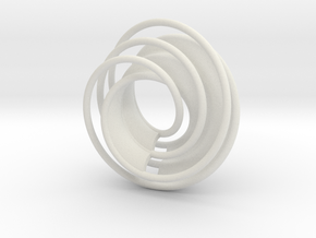 Twin Rail Mobius can-take-a-ball - Pendant in White Strong & Flexible