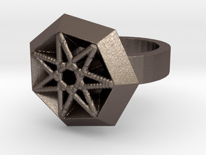 Star Ring Remix 2 in Polished Bronzed Silver Steel