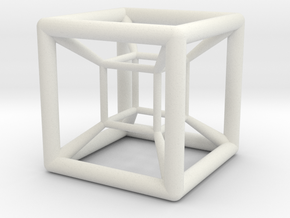 4D Hyper Cube Shadow in White Natural Versatile Plastic