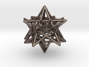 modified twisted Small stellated dodecahedron in Polished Bronzed Silver Steel