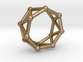 0347 Heptagonal Antiprism V&E (a=1cm) #002 in Polished Gold Steel