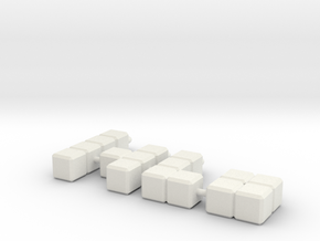 Earring Cubes in White Natural Versatile Plastic