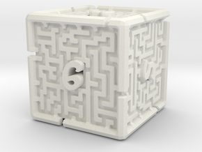 6 Sided Maze Die V2 in White Strong & Flexible