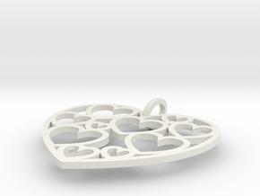 Heart of hearts pendant  in White Natural Versatile Plastic