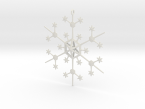 Snowflake Tree Ornament in White Natural Versatile Plastic
