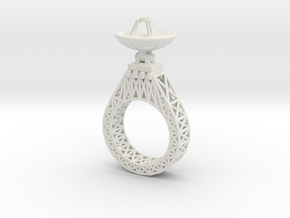 Parabola Ring in White Natural Versatile Plastic