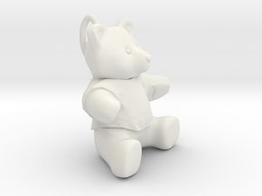 Teddy bear pendant  in White Natural Versatile Plastic