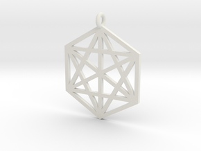Pendant Hexagram in White Strong & Flexible