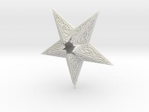 Celtic Star Christmas Ornament in White Natural Versatile Plastic