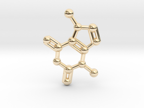 Theobromine (Chocolate) Molecule Necklace / Keycha in 14K Yellow Gold