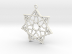 Double Heptagram Pendant in White Natural Versatile Plastic