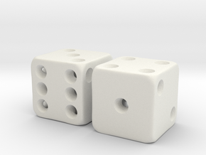 Barebones Pair of Dice in White Natural Versatile Plastic