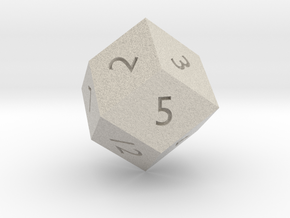 Rhombic 12-sided die in Natural Sandstone