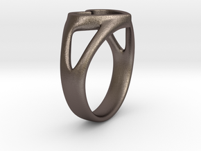 Caterina Heart ring in Polished Bronzed Silver Steel