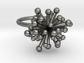 Single Starburst Ring in Polished Silver