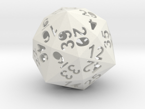48-side dice (hollow) in White Natural Versatile Plastic