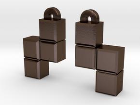 Video Game block earrings in Polished Bronze Steel