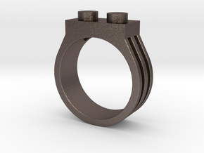 Brick Ring-2 Stud, Size 10 in Polished Bronzed Silver Steel