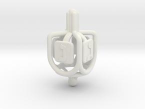 Dreidel - Rings & Pipes - v01 in White Natural Versatile Plastic