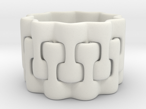 Interlaced Candle Ring 2 in White Natural Versatile Plastic