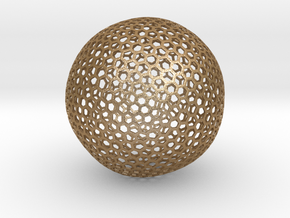 Geodesic Golf Ball (A) in Matte Gold Steel